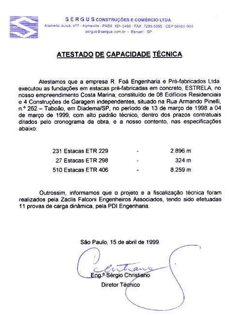 Estacas Pré-Moldadas: Atestado Sergus